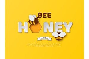 Bee honey typographic design.