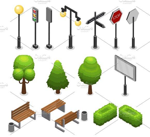 City Street Elements Set