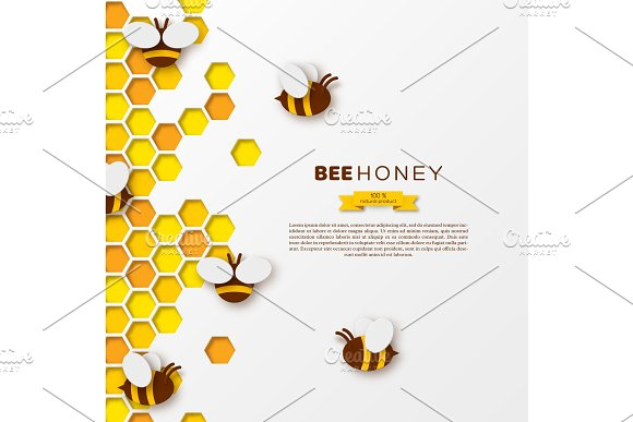 Bee With Honeycombs Paper Cut Ctyle Template Design For Beekiping And Honey Product White Background Vector Illustration