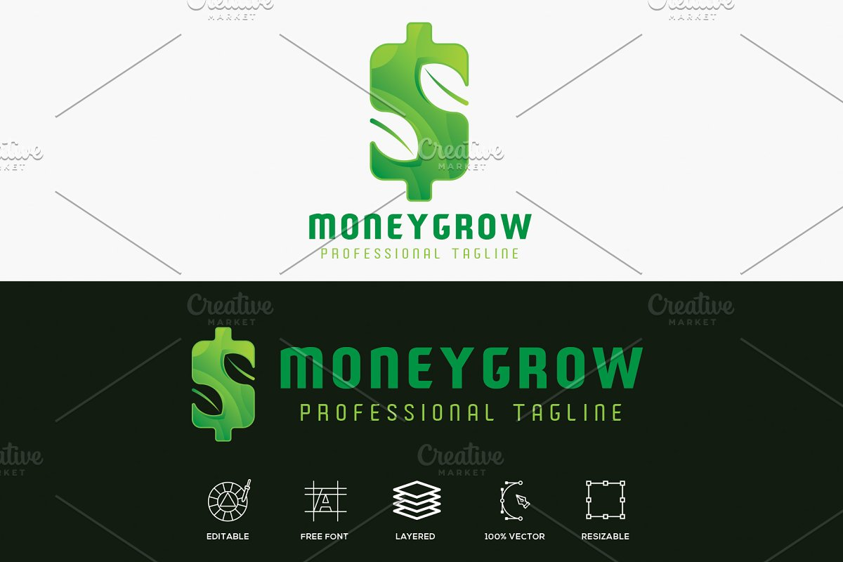 Money Grow Finance Logo in Logo Templates - product preview 8