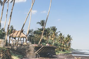 Landscape of black sand beach with beautiful palms. Bali island.