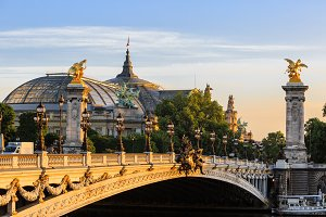 Alexander III bridge at dawn in Paris