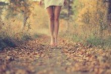 Beautiful female legs in the fall