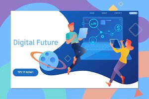 Creative website template design of Digital future. Young people using mobile gadgets for social networks, news and sharing.