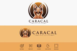 Caracal Wild Cat Logo