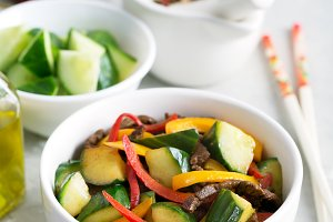 Achik syay is traditional asian salad of oriental cuisine with meat and vegetables