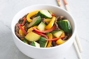 Traditional korean salad of with cucumbers, beef and vegetables