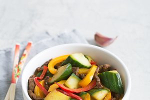 Achik syay is traditional salad of Uighur cuisine with beef and vegetables