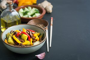 Traditional salad of asian cuisine prepared with beef and vegetables