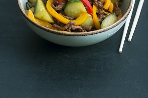 Traditional uigur salad of with beef and vegetables