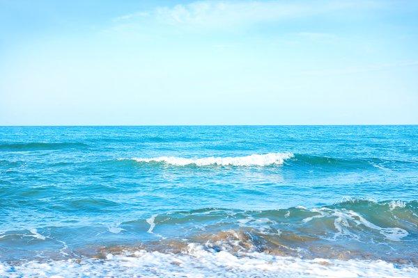 Waves on the blue sea