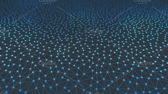 Blue Connection Network Lines Background For Technology Concept 3D Illustration