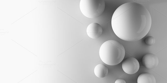 Spheres On White Background In Technology Concept Minimal Abstract Background 3D Illustration