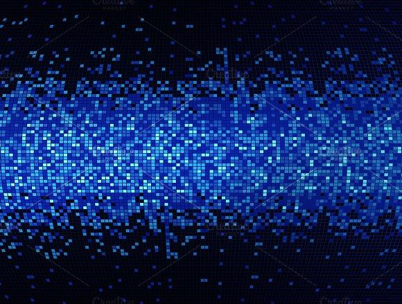 Blue Mosaic Tile Pattern Background In Technology Concept 3D Illustration