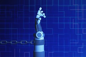 Robot hand in chain on blue background in futuristic technology concept. 3d illustration