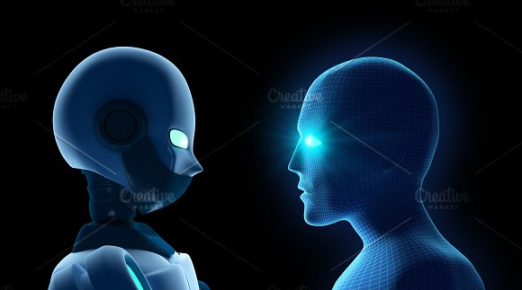 Human Fights Robot On Black Artificial Intelligence In Futuristic Technology Concept 3D Illustration