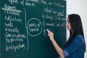 Portrait of woman teacher writing on blackboard in classroom