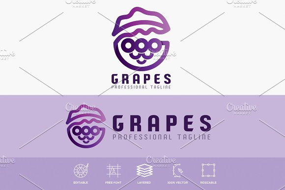 Grapes G Letter Logo