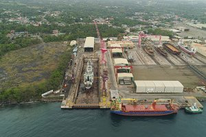 Shipyard with crane, Batangas, Philippines, Luzon.