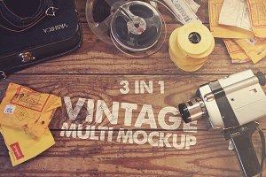 3 in 1 Vintage Mockup