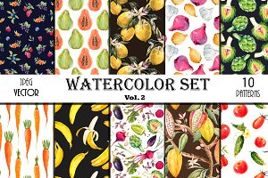 10 Floral Patterns Watercolor Set 2