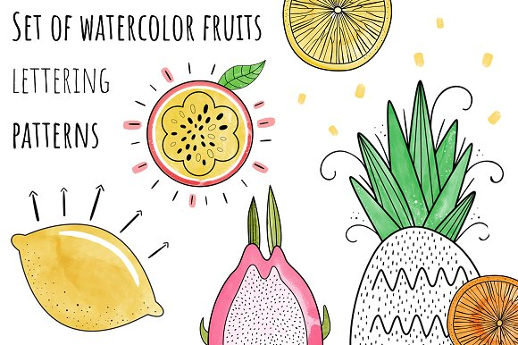 Set Of Watercolor Fruits Lettering