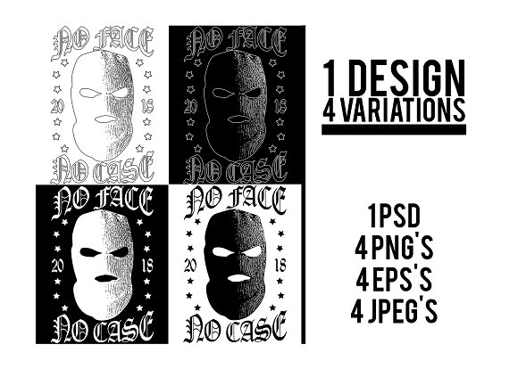 No Face No Case T-Shirt Design
