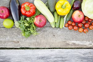 Set of raw organic fruits