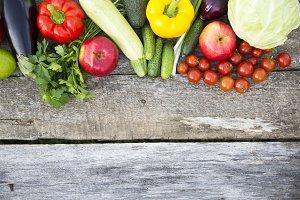 Set of fresh raw organic fruits