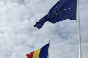 Romanian and NATO flags