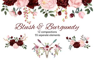 Blush Burgundy Watercolor Clip Art Illustrations Creative Market