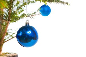 Blue holiday balls on Christmas tree