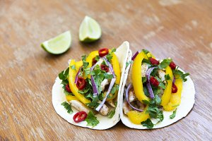 Tacos with grilled chicken fillet