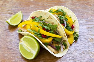 Mexican tacos with grilled chicken