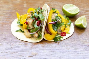 Corn tortillas with fresh vegetables