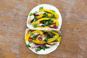 Tasty corn tortillas with fresh