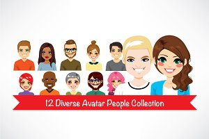12 Diverse Avatar Collection Set