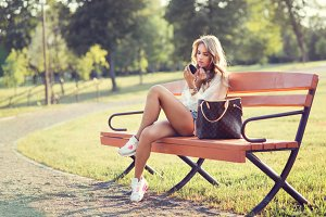 beautiful girl on the bench