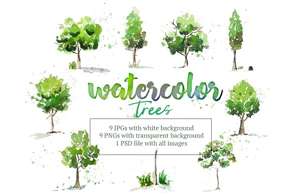 Hand Painted Watercolor Trees