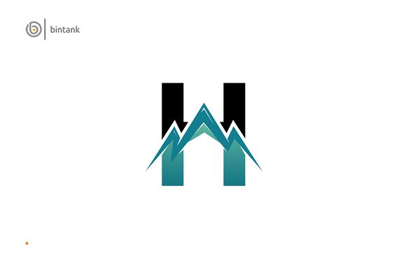 H Letter Mountain Logo