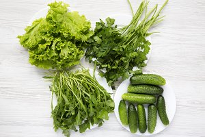 Detox salad ingredients on white