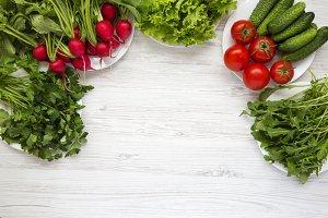 Ingredients of vegetable salad