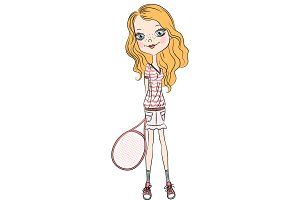 Vector girl with a tennis racket