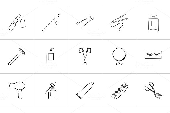 Beauty Accessories Hand Drawn Sketch Icon Set