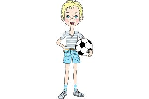 Vector sports boy with soccer ball