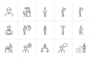 Business hand drawn sketch icon set.