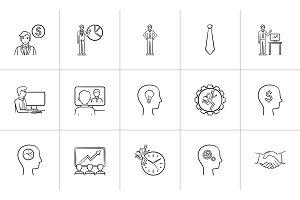 Business hand drawn sketch icon set.