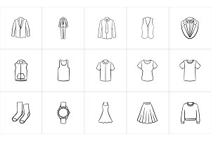 Clothing and accessory sketch icon set.
