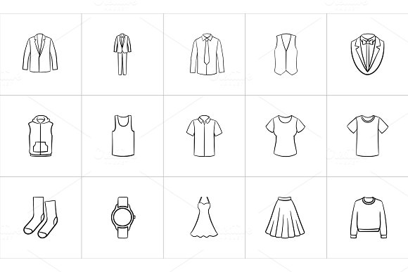 Clothing And Accessory Sketch Icon Set