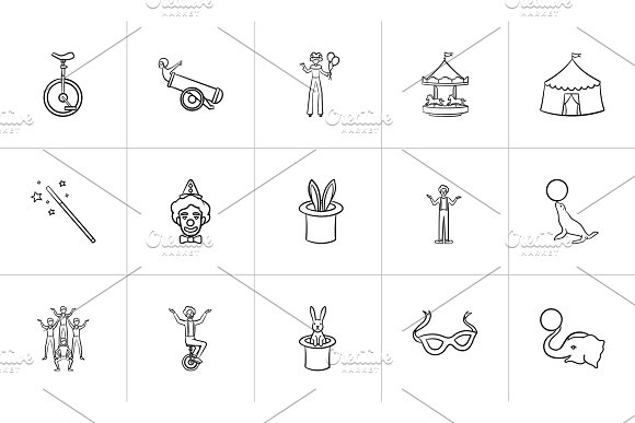 Circus Hand Drawn Sketch Icon Set